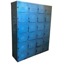 Industrial Steel Storage Locker Set. Robin's Egg Blue, 24 Cubbies, Padlock Pulls