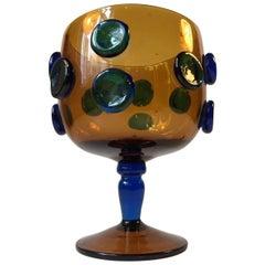 Murano Pedestal 'Button' Bowl by Enrico Camozzo, Italy, 1980s