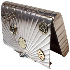 'Gamblers' Art Deco Jeweled Silver & Gold Snuff Box by Jens Sigsgaard