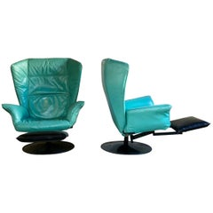 Space Age Leather Armchair by Archizoom Studio Milano for Cassina, Set of 2