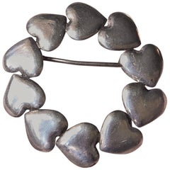 Art Deco Silver Heart Brooch by Hans Hansen, Denmark, 1930s