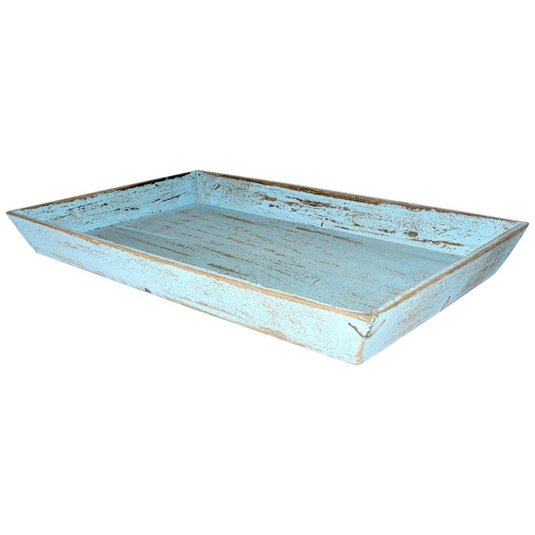 Rustic Turquoise Painted Provincial Style Chinese Tea Tray For Sale