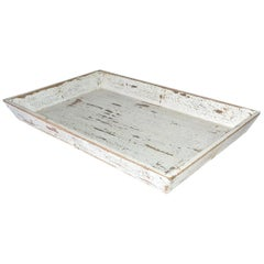 Rustic White Painted Provincial Style Chinese Tea Tray