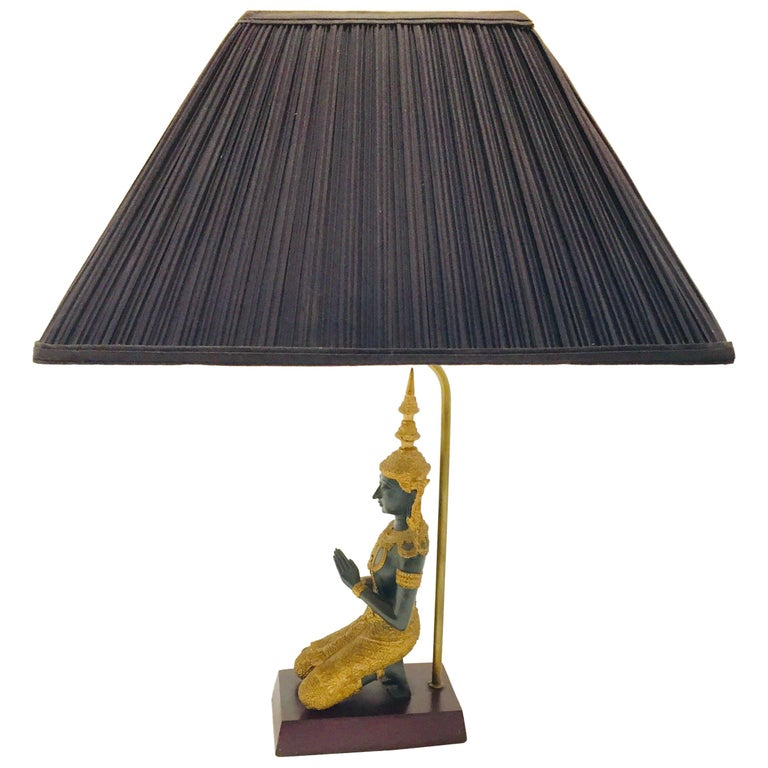 Bronze Statue of a Thai Teppanom Kneeling Angel Buddha Table Lamp For Sale