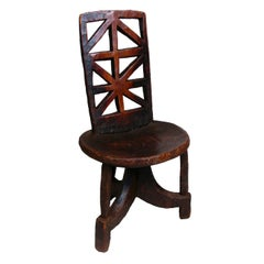 Ethiopian High-Back Wooden Chair