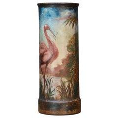 Industrial Umbrella Trash Can Cast Iron Folk Art Hand Painted Heron Flamingo