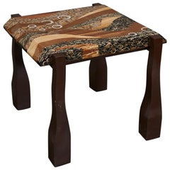 "Contemporary ""Vienna"" Side or End Table with Exotic Inlay, 1990s"