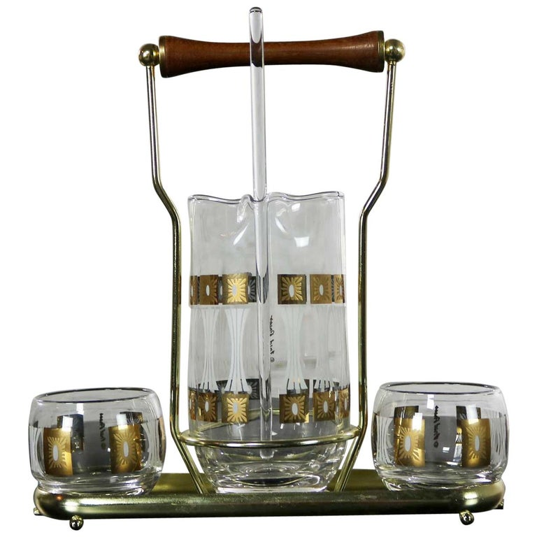 Vintage Mid-Century Modern Fred Press Glass Cocktail Caddy Set Sun Block Patter For Sale