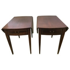 Pair of Sheraton Mahogany Inlay Drop Leaf Pembroke End Tables