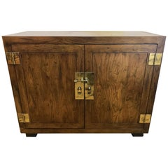 Vintage Henredon Campaign Style Server Credenza Cabinet