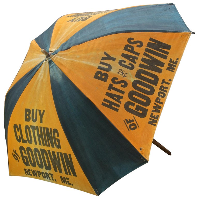 1920s Umbrella Parasol Advertising Mercantile Graphic Design Newport Beach Patio For Sale
