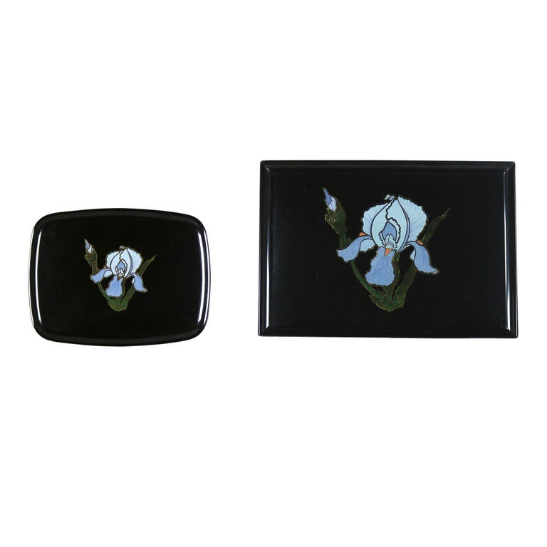Pair of Vintage Mid-Century Modern Couroc of Monterey Black Trays with Blue Iris For Sale