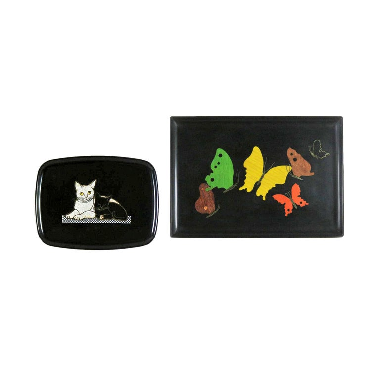Pair of Mid-Century Modern Couroc of Monterey Black Trays Cats and Butterfly For Sale