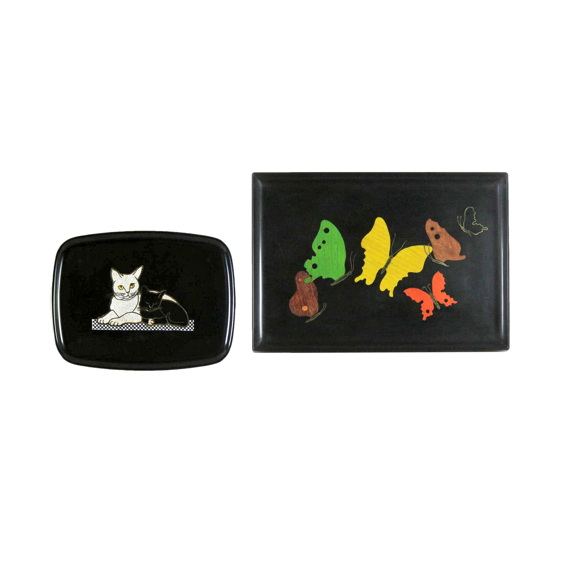 Pair of Mid-Century Modern Couroc of Monterey Black Trays Cats and Butterfly