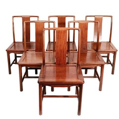 Set of Six Antique Chinese Mid-Century Modern Dining Chairs