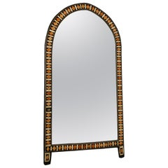 Mid-Century Modern Bone-Inlay Dome Shaped Floor Wall Mirror