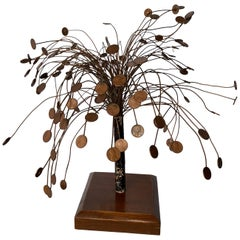 Decorative Midcentury Table Sculpture of 1970s Pennies Flower Stand