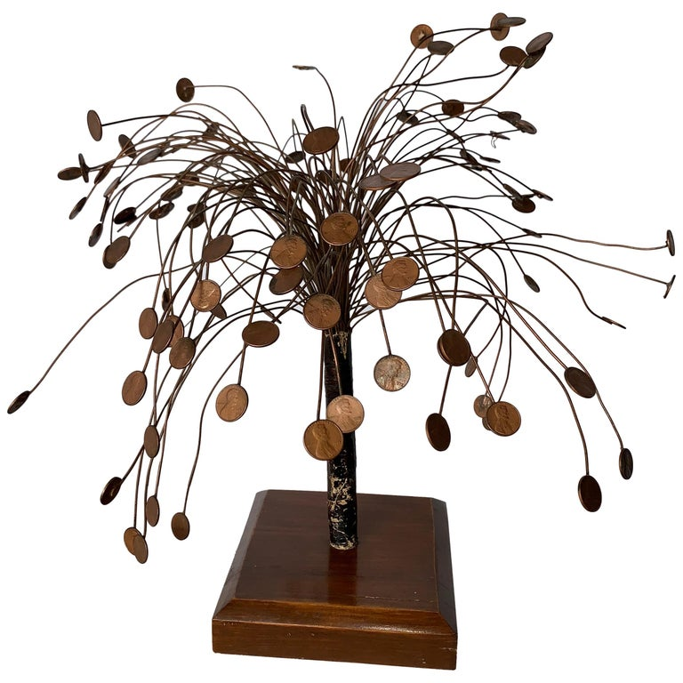 Decorative Midcentury Table Sculpture of 1970s Pennies Flower Stand For Sale