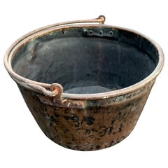Large 19th Century Copper Fireplace Cauldron Or Log Holder