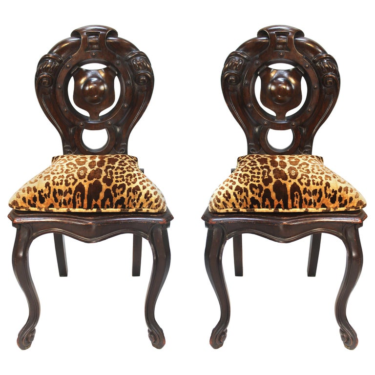 Victorian Shield Back Boudoir Chairs with Loose Velvet Animal Print Cushions For Sale