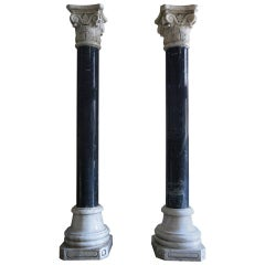 Corinthian Style Columns in Blue Stone and White Marble, circa 1880, France