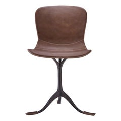 Set of 10 Truffe Leather and Brown Sand Cast Brass Chair by P. Tendercool