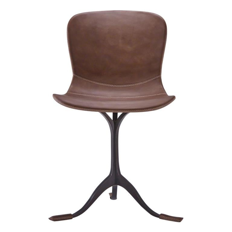 Set of 10 Truffe Leather and Brown Sand Cast Brass Chair by P. Tendercool For Sale