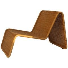 Italian Mid-Century P3 Wicker Lounge Chair by Tito Agnoli for Bonacina, 1960s