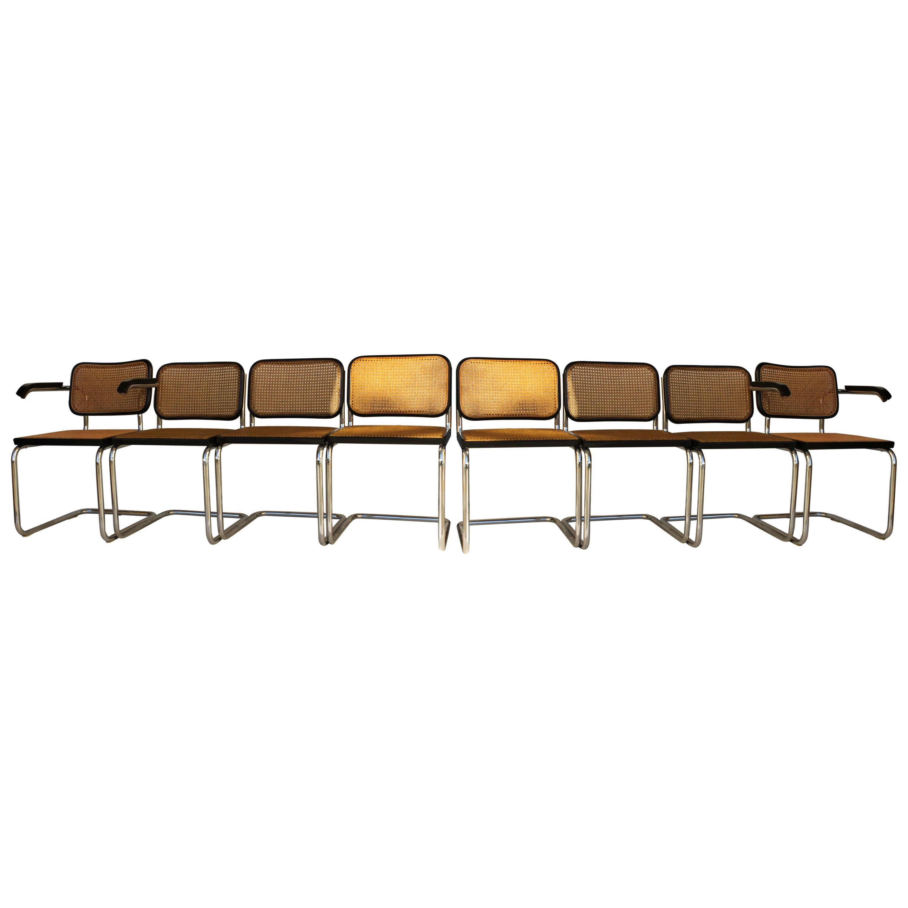 """Original GAVINA set of Six """"Cesca"""" Chairs and Two Armchairs by M. Breuer , 1970"""