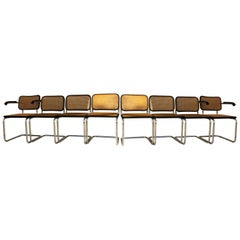 "Original GAVINA set of Eight ""Cesca"" Chairs and Armchairs by M. Breuer , 1965"