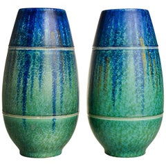 Pair of Vintage English Ceramic Bretby Vases, Blue and Green Ground