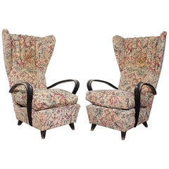 20th Century Paolo Buffa  pair of Armchairs floral fabric Italy 40s.