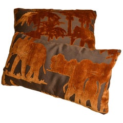 Velvet Unusual Pillows with Elephants, Two in Different Sizes