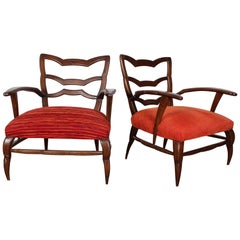 20th Century Paolo Buffa pair of orange Armchairs 40s Italy