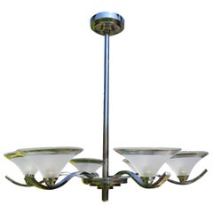Art Deco Period Ceiling Light or Lamp Chandelier Six Branch Chrome, circa 1925