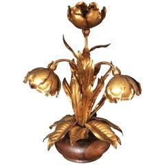 Italian Gilt Flower Tole Lamp, 1970s