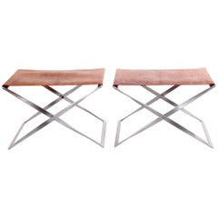 Pair of Poul Kjærholm Pk 91 Folding Stools Steel and Patinated Leather