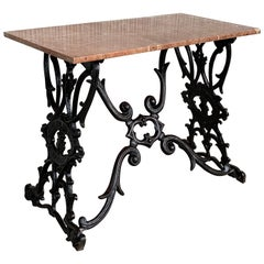 19th Century Spanish Cast Iron Bistro, Garden, Coffee Table with Marble Top