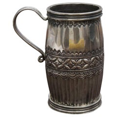 18th-19th Century Possibly Bolivian Barrel Shaped Silver Cup with Handle