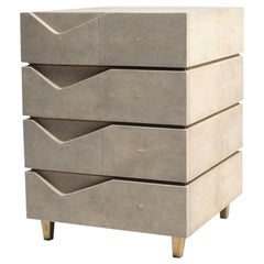 Henry Bedside Table in Cream Shagreen and Bronze-Patina Brass by R&Y Augousti