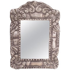 1850s Colonial Embossed Silvered Metal Mirror