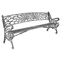 New Large Black Cast Aluminum Garden or Park Bench