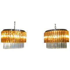 Pair of Murano Glass Chandeliers by Zero Quattro