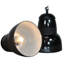 Industrial Lamp, Factory Pendant Light in Black Finish, 1950s