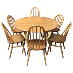 Elm and Beech Drop Leaf Dining Table and 6 Chairs by Lucian Ercolani for Ercol
