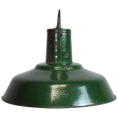 Original Industrial Lamp from Hungary, Factory Pendant Light in Green Finish