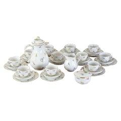Set of Meissen Porcelain Coffee Set with Flower Decor