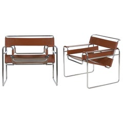 "Vintage Pair of Chrome and Leather ""Wassily"" Armchairs after Marcel Breuer"