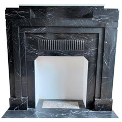 ART DECO Fireplace Nero Marquina Marble 1932