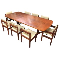 British Midcentury Teak Dining Table and 8-Leather Chairs by Gordon Russell